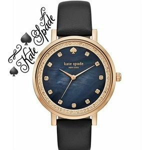 ♠Kate Spade♠Monterey Black Leather Rose Gold Watch
